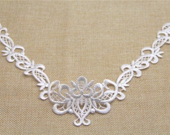 2 PC White Embroidery Hollow Flower Lace Applique DIY Collar   Appliques Patch   Clothing Accessories, WL639
