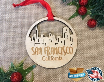 San Francisco California Ornament *** Skyline Christmas Holiday Ornament *** CA
