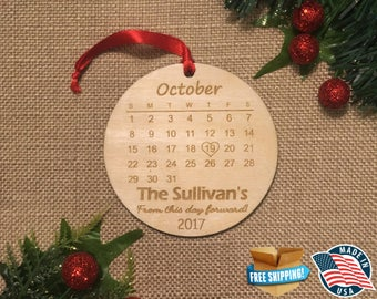 Personalized Wedding Gift *** Wedding Present Christmas *** Newlywed First Christmas *** Engagement gift *** Christmas Calendar Ornament