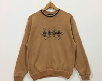 Rare !!! Vintage claudio valentino paris big spell out logo sweatshirt