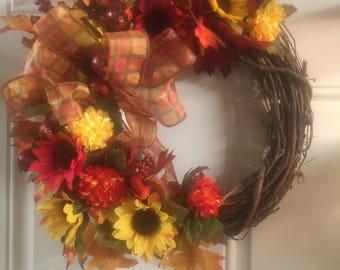 Fall Wreath, Autumn Wreath, Fall Front Door, Home Decor