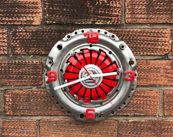 Recycled Clutch Clock Art clock handmade wall clock Vauxhall clock industrial clock