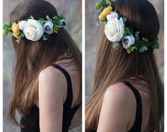 Flower crown wedding, bridal flower crown, greenery crown, bridal headpiece, floral headpiece