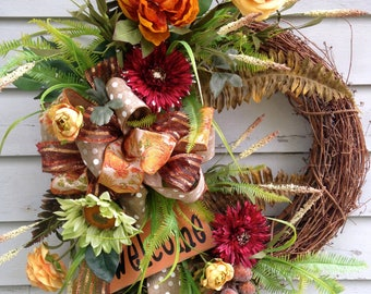 Fall Front Door Wreath, Fall Wreath, Autumn Wreath, Grapevine Wreath, Fall Floral Wreath