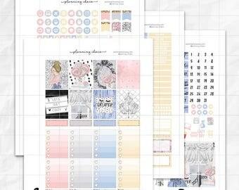 Get cozy printable planner stickers /EC vertical weekly kit / ECLP / pdf, jpg, cut files / glitter