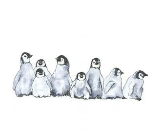 penguin babies watercolor giclée print
