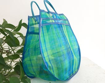 Shopping bag XXL - blue/green Madras