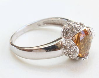 White Gold Citrine Ring Diamond 14k Gold