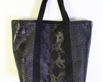 Black faux leather snakeskin Tote