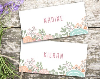 Wedding Place Cards/ Printable Wedding Name Cards/ Folded/ Personalised/ Wedding Name Tags/ Floral/ Pastel/ Nadine Suite #055-07