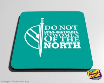 "Vikings Inspired Drinks Mat/Drinks Coasters - Lagatha Shieldmaiden ""Do not under estimate the women of the North"" Quote"