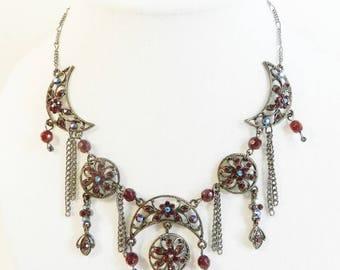 "Designer necklace ""Raspberry"", single model, made by hand, swarovski crystal rhinestones"
