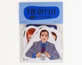 THE OFFICE, 15 piece sticker set, The office US version, The Office stickers, The office tv show, Michael Scott, Dwight Schrute, Dunder