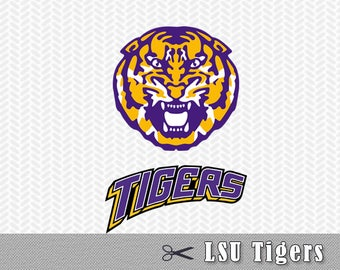SVG LSU Tigers University Louisiana Layered Logo Vector Cut File Silhouette Cameo Cricut Design Template Stencil Vinyl Decal Transfer Tshirt