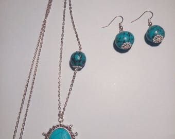 Necklace and Earring Set turquoise earrings made of polymer clay