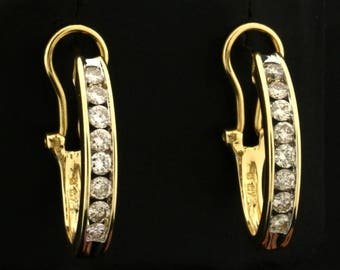 1ct TW Diamond Half Hoop Earrings in 14k Gold