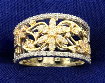 1/2 ct TW Diamond Flower Design Ring in 14K White, Yellow, and Rose Gold