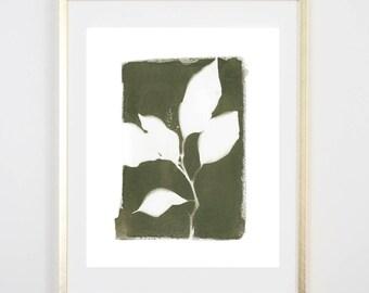Green Botanical Cyanotype 2 PRINT / Handmade Art Print / Original Botanical Floral Cyanotype Photogram Art / 8x10