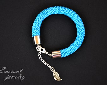 Light Blue Seed bead Bracelet jewelry Bar bracelet Simple bracelet Everyday bracelet Minimal bracelet Stacking bracelet Denim Bracelet Jeans