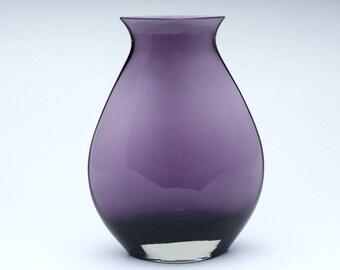 Vintage glass vase, 1960's glass vase, retro style vase, retro vase, vintage vase, purple vase, vintage glassware, glass vase, gift