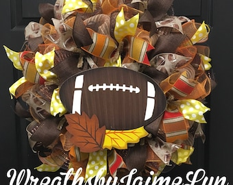Football wreath, fall wreath, autumn wreath, front door wreath, Handmade wreath, Custom Wreath,  Burlap Wreath,