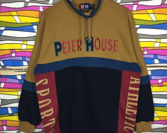 Rare!! PETER HOUSE Sweatshirt Big Logo Spellout Embroidery Large Size
