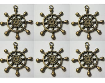 6 Pieces Ships Wheel Finding Bronze Antiqued Brass Color