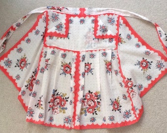 Vintage Half Apron with Coral Trim, Blue, Mustard Flowers.