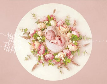 Floral Newborn Digital Backdrop. Newborn overlay with flowers. Digital background for baby girls. Photo JPG file