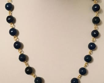 Faceted Blue Agate  Rosary Bead Necklace