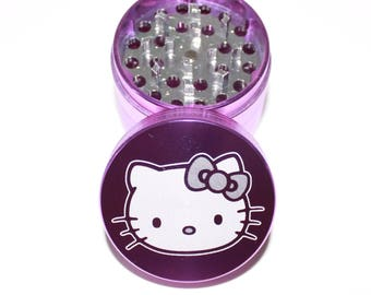 Hello Kitty Inspired Grinder - 4 piece grinder - Cute metal herb grinder with free microfiber pouch