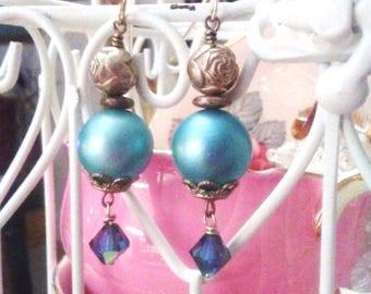 Vintage Blue Pearl Earrings -  Sterling Silver Earrings