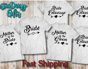 Bride Entourage T-shirts/bride tote/Bachlorette/Brides Maid/mother of the bride/mother of the groom/Maid of Honor/bridal shower/I Do Crew