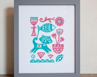 Cat Screen Print - Hand Screen Printed, Cat Screen Print, Cat Print, Turquoise, Pink, Birthday Present, Housewarming Gift