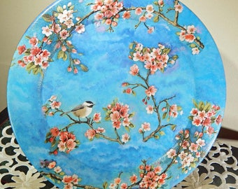 Painted Wooden Plate. Decoupaged Wooden Plate. Decoupage Napkin. Hand Painted Plate. Floral Plate. Chickadee. Decorative Plate.