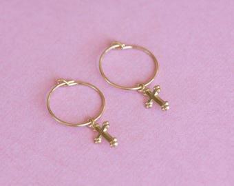 Earrings 14 k gold plated cross / cross earrings / cross earrings