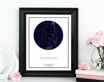 Custom Star Map; Personalized Star Map; Star and Constellation print; Valentine's Day Gift; Personalized Wedding Gift; Anniversary Gift