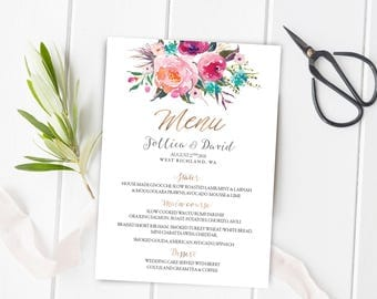 Wedding Menu, Printable Wedding Menu, Printable Wedding Menu Card, Wedding Menu Cards, Wedding Menu Printable, Wedding Menu Template