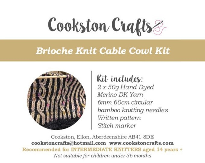 Knit Kit - Brioche Knit Kit designed and produced in Scotland, includes circular needles and 2 x 50g hand dyed double knit sw merino