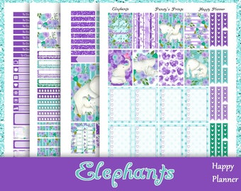 SALE~Elephants~Printable Happy Planner Stickers Weekly Kit For The Classic MAMBI Happy Planner