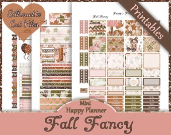 Fall Fancy~Mini Happy Planner Printable Stickers Fall Weekly Kit For The MAMBI Mini Happy Planner with Free Silhouette Cut Files