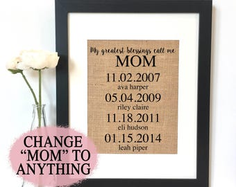 My greatest blessings call me Mom Burlap Print // Personalized Gift // Mom Gift // Gifts for parents
