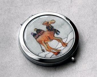Camel Mirror - Small Mirror - Round Mirror - Compact Mirror - Hand Mirror - Metal Mirror - Magnifying Mirror - Cute Mirror -Pocket Mirror