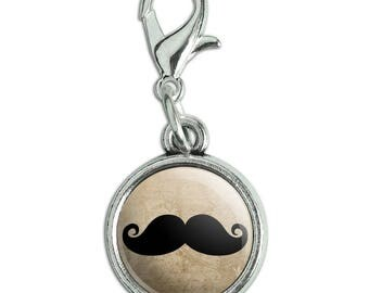 Curly Mustache Antiqued Bracelet Pendant Zipper Pull Charm with Lobster Clasp