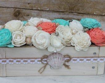 Centerpiece box coastal summer beach sola flower