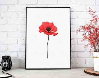 Poppy flower print art, red flowers wall art print, botanical bedroom decor, poppies, floral Wall decor, flower painting, minimalist art