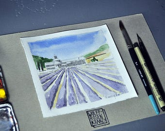 Abbaye Notre-Dame de Sénanque, lavender fields in Provence, watercolour, original by Marc-M. J. Wolff-Rosary