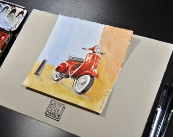 Vespa, Red: pencil drawing, watercolour, 16 x 16 cm, original by Marc-M. J. Wolff-Rosary