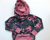 Floral and Pink Cowl Neck Kids Hoodie