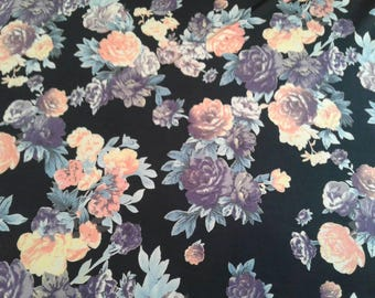 "60"" width, STRETCHED Lycra, polyester, floral, black, brownprint, body hugging, old rose, peach fabric, lucrative material,"